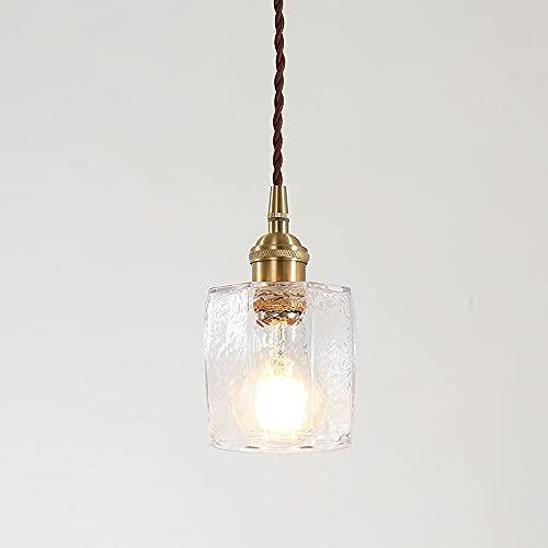 Lámpara de cristal de la luz de la luz del colgante de latón Lámpara de la isla de la cocina de la luz de la luz de latón, decoración para el hogar colgando accesorios de iluminación E27 Lámparas de t