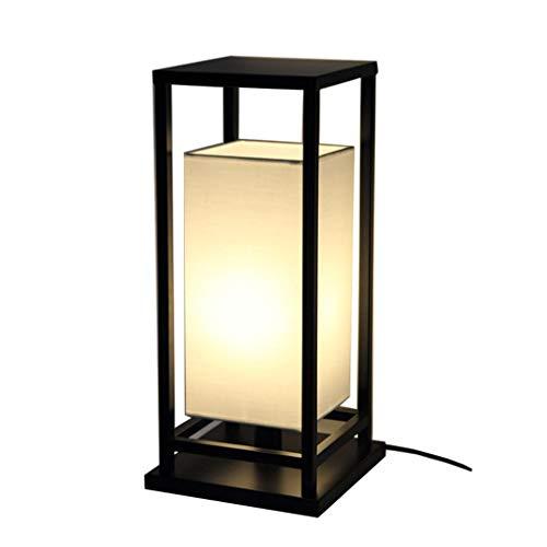 Lampes de table Chambre À Coucher Chevet Creative Chaude Art Mode Rétro Simple Fer Tissu Petite (Color : Black, Size : 25 * 25 * 55cm)