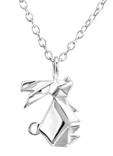 FaithOwl - Collar con colgante de conejo de origami en plata de ley 925