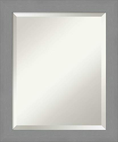 Framed Vanity Mirror | Bathroom Mirrors for Wall | Brushed Nickel Mirror -