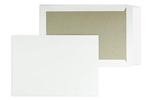 100 Stück, Papprückwandtaschen, DIN C4, Haftklebung mit Abziehstreifen, Gerade Klappe, 120 g/qm Offset, Ohne Fenster, Weiß, Blanke Briefhüllen