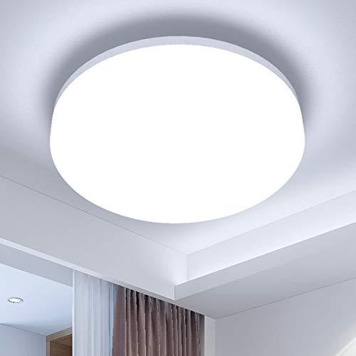 LE 24W Deckenlampe Dimmbar, LED Deckenleuchte IP54 Wasserfest, Ø33 5000K Badlampe, 2100LM Kaltweiß Licht Badezimmer Lamp, Rund Flach Leuchte Ideal für Küche,Schlafzimmer,Balkon,Flur,Bad,Wohnzimmer