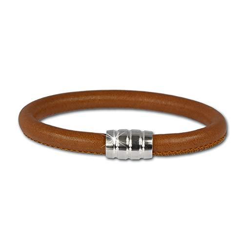 SilberDream Bracelet de cuir nappa - Couleur cognac nappa 6mm - Taille 19cm - Fermeture aimant argent 925/1000 - LS0641