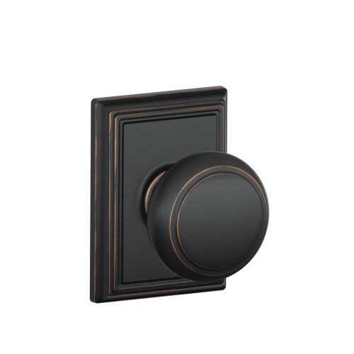 Schlage F10AND716ADD Addison Collection Andover Passage Knob, Aged Bronze