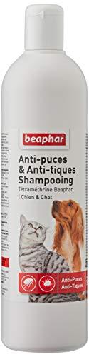 BEAPHAR – Shampoing anti-puces et anti-tiques pour chien et chat – À base de Tétraméthrine – Élimine les puces et les tiques – Nettoie et protège – Convient aux épidermes sensibles – 500ml