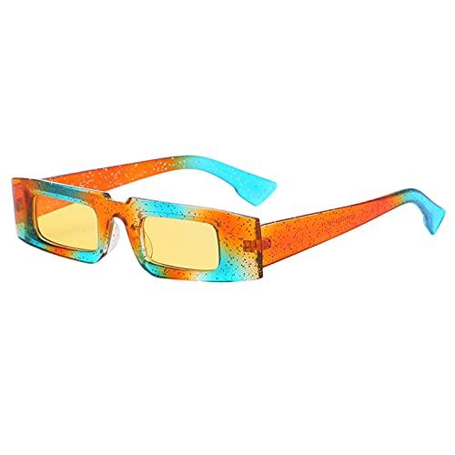 SunniMix Gafas de Sol Rectangulares Retro con Lente Amarilla Gafas con Tapa Plana Accesorios Exteriores