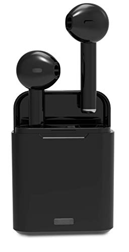 Wireless Bluetooth Earbuds - True Wireless Stereo Sound Ear Buds - in-Ear Headphones with More Bass and Clearer Sound - Premium Ear Buds with Charging Case and Cable - Black