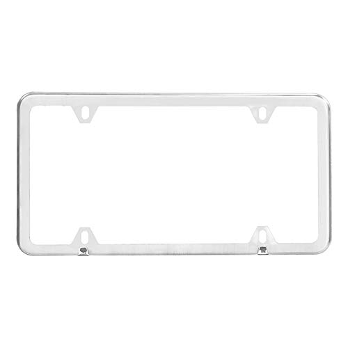 XIAOYING Stainless Steel License Plate Frame Pair with Screw Caps - 4-Hole, 12.2inch x 6.3inch, Silver