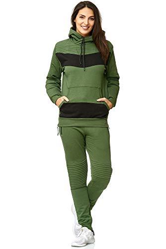 Violento Damen Jogging-Anzug   Leder Anzug 610 (S-fällt groß aus, Khaki)