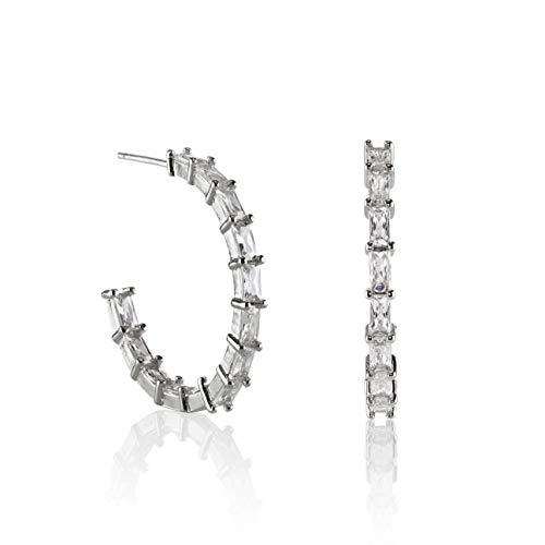 Namana Pendientes de Aro con Circonitas. Grandes Aros de 25mm con Piedras Color Plata o Bañados en Oro de 14 Quilates para Mujer