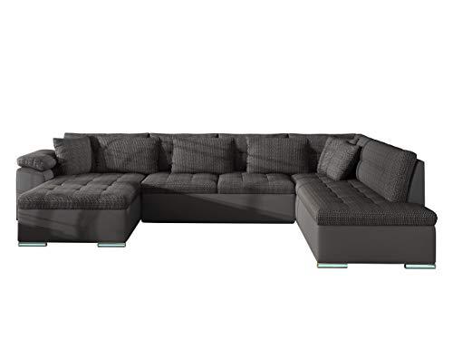 Ecksofa Niko BIS LED Beleuchtung mit Fernbedienung, Eckcouch mit Schlaffunktion und Bettkasten, Wohnlandschaft vom Hersteller, Sofa U-Form Couch (Soft 020 + Majorka 03, Seite: Links)
