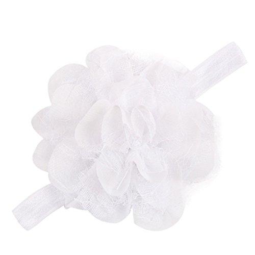 Tonsee Mädchen einstellbare attraktive Blume Tuch niedlichen Baby Partei Kleinkinder Haarband Stirnband (weiß)