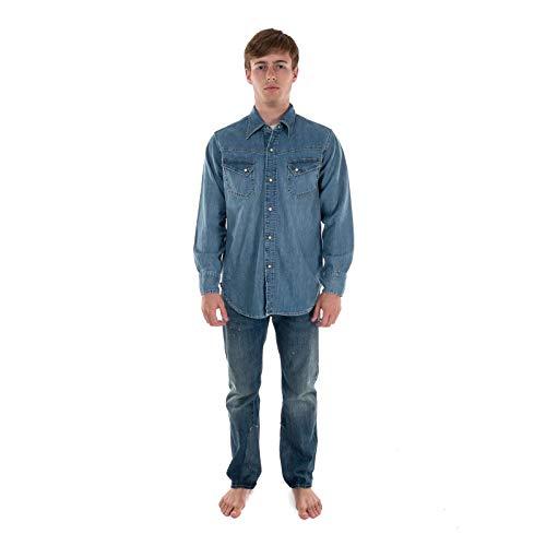 Levi Vintage Clothing Camicia Jeans 50S Western Denim 67702-0008 Lavaggio Medio. Blu L