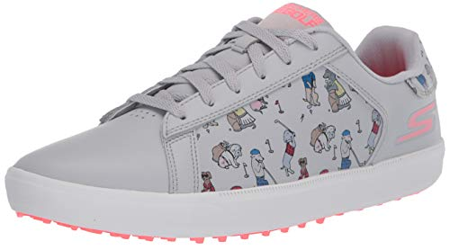 Skechers Women's Go Drive Dogs at Play Spikeless Golf Shoe, Gray/Pink, 9.5 M US
