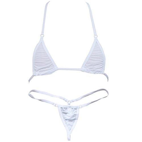 TiaoBug Microkini BH Bra + String-Tanga Reizwäsche Dessous Set Sexy BH-Set BHS Unterwäsche (Weiß)