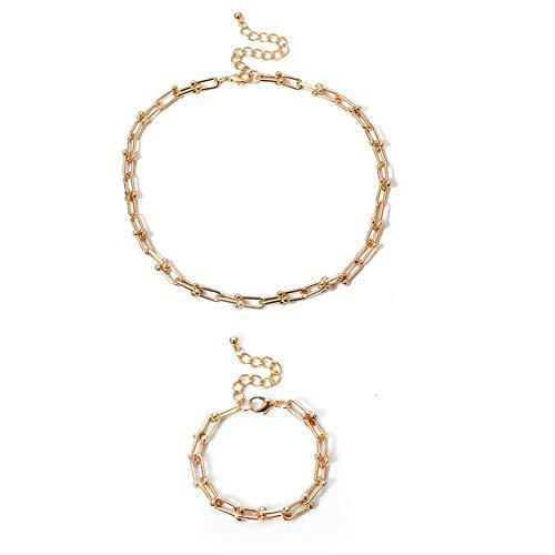 Nobrand Simple Minimalista Cuadrado Collar Corto Collar Gargantilla Collares Encanto Oro Color Collar Pulsera Conjunto para Mujeres Hombres Joyería