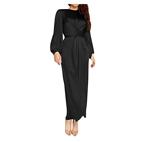 Flowy Summer Dresses for Women,Women Muslim Dress Kaftan Arab Jilbab Abaya Islamic Lace Stitching Maxi Dress,Women's Special Occasion Dresses(Black,Medium)