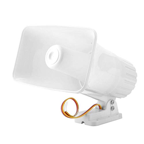 Alarm Sirene, MAGT Elektronische Alarmsirene Horn 150dB Indoor/Outdoor Sicherheitssirene DC 12V for Home Security System - Weiß