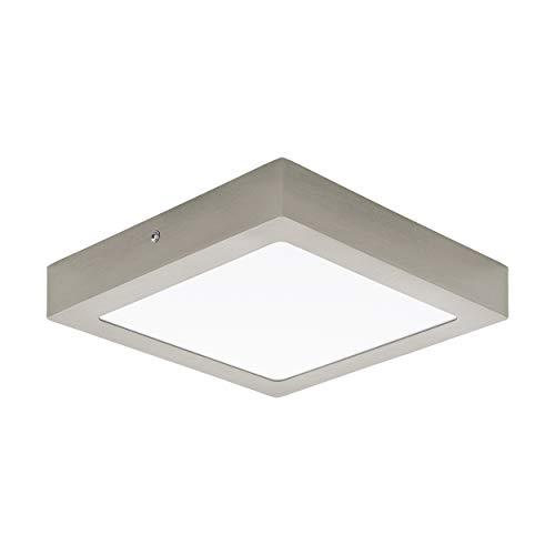 Preisvergleich Produktbild EGLO LED Deckenleuchte Fueva 1,  1 flammige Deckenlampe,  Material: Metallguss,  Kunststoff,  Farbe: Nickel matt,  weiß,  L: 22, 5x22, 5 cm,  warmweiß