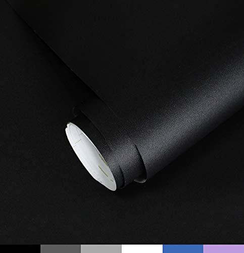 Homease Klebefolie Möbel Selbstklebende, 5 x 0.6 M PVC Selbstklebende Tapete Schwarz Matte, verdickt wasserdicht Möbelfolie, Dekofolie für Küchen Schränken Wand Tischplatte