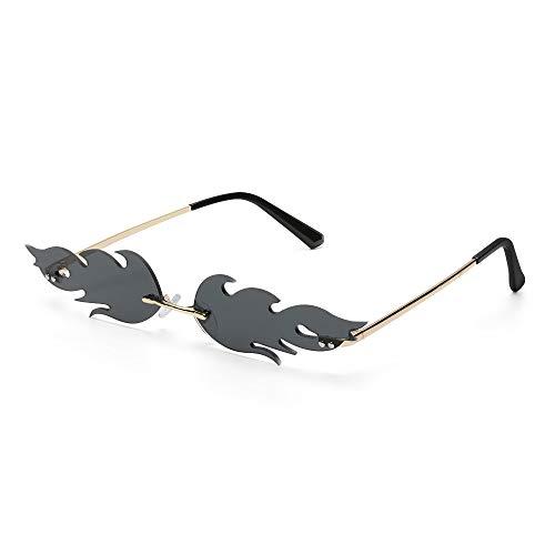 Tianayer Frauen Feuer Flamme Sonnenbrillen Randlos Welle Sommer Brillen Neuheit Brillen (Schwarz Grau)