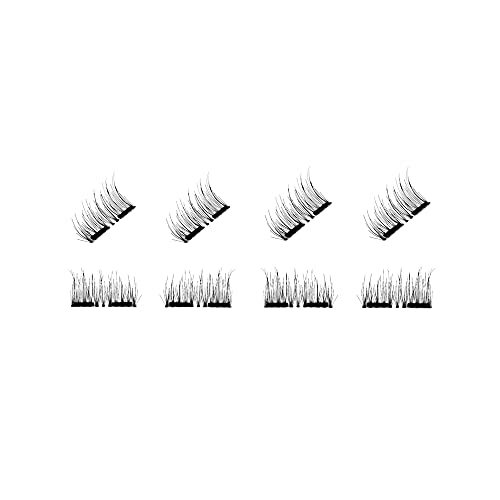CB 2 Pairs Set, 8 Pcs 3D Reusable Dual Magnetic Eyelashes Kit, Ultra-Thin Magnet, Natural Dramatic Volume False Eyelash Extensions (Half Length Set-A)