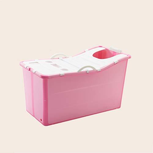 GAONA Draagbare Badkuip voor volwassenen, Huishoudelijk Roze Badkuip Inklapbaar Kinderzwembad Met Deksel Opvouwbare Gratis Staande Badkuipen Baby Badkuipen Voor Pasgeborenen En Kinderen,100 * 53 * 60cm