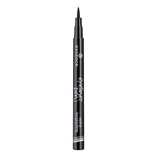 essence eyeliner pen extra longlasting, Eye Liner, Nr. 01 black, schwarz, definierend, langanhaltend, vegan, ohne Parfüm, ohne Alkohol (1ml)