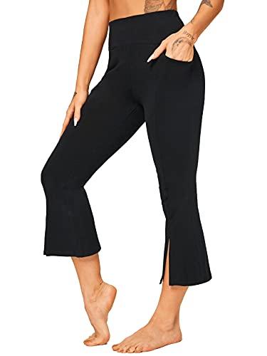 FITTOO Damen Bootcut Yogahosen Straight-Bein-Jogginghose Ausgestelltem Bein Yoga Hose 3/4 Mit Taschen - Schwarz XL