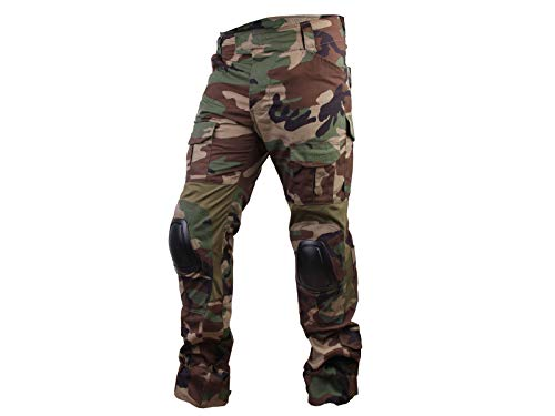 Paintball Equipment Men Airsoft Hunting Combat BDU Pants Gen3 Tactical Pants with Knee Pad Woodland (M(32))