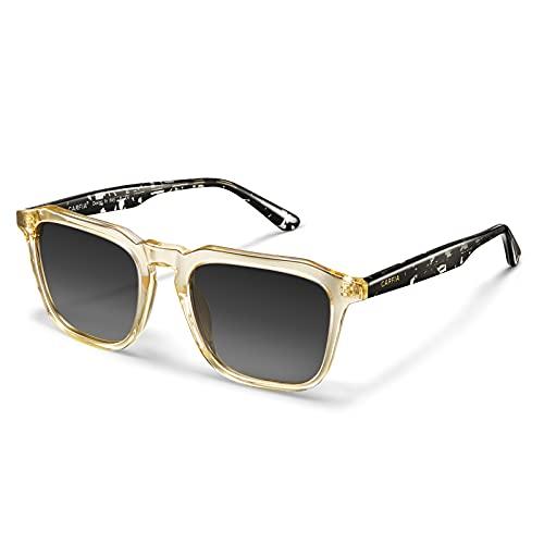Carfia Occhiali da sole quadrati vintage per donna Uomo Protezione UV400 polarizzata Guida in viaggio Occhiali da pesca con montatura in acetato