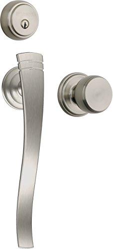 Brinks Push Pull Rotate Door Locks Rhodes Entry Handleset with Deadbolt, Satin Nickel, 23071-119