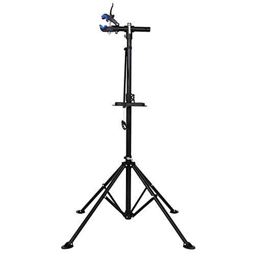 dibea Unisex Erwachsene Fahrradmontageständer mit Werkzeugablage Höhenverstellbar auf Verschiedene Höhen Fahrrad Montagest nder, schwarz, 105-190 cm Montageh he EU