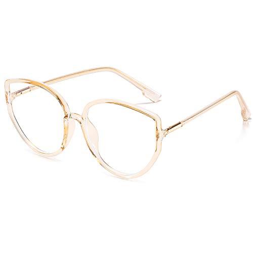 Gafas de Bloqueo de luz Azul Gafas para Juegos de computadora TR Montura de anteojos Trend Big Frame Gafas Lectura Anti-Fatiga Visual para Mujeres y Hombres,F