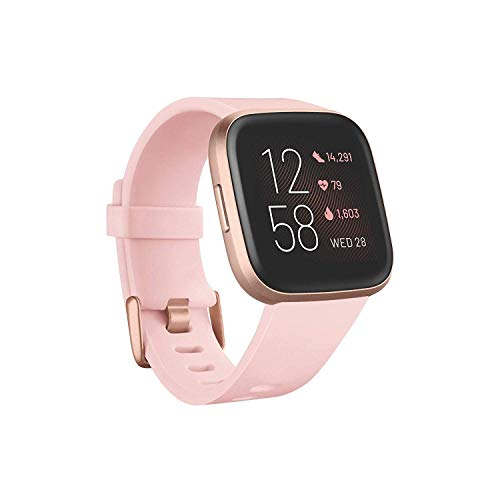 Fitbit Versa 2 Health and Fitness Smartwatch with Heart Rate, Music, Alexa Built-in, Sleep and Swim Tracking, Petal/Copper Rose, One Size (S and L Bands Included) (Renewed)