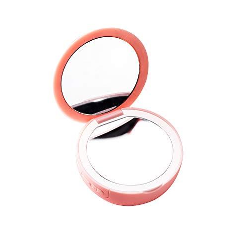 Miroir de Maquillage Portable Mini Miroir de beauté Rond Pliable avec des lumières Facile à Transporter Support USB de Charge Trois Couleurs Miroir de beauté en Option