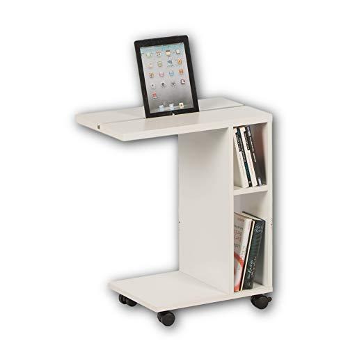 Stella Trading LATINO Moderner Beistelltisch auf Rollen in Weiß - mobiler Couchtisch mit praktischer Tablet Schiene & Regal für Ihren Wohnbereich - 50 x 60 x 30 cm (B/H/T)