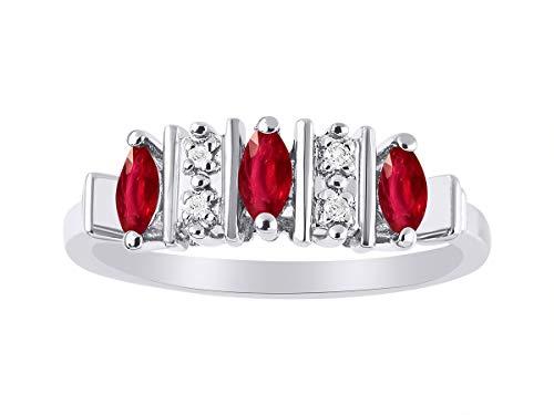 Juego de anillos de plata de ley 925 con diamantes de imitación de Marquise Ruby