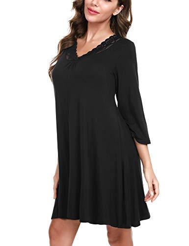 Hawiton camisón para Mujer de Algodon, Sexy Camisones de Encaje de Mangas 3/4, Pijamas con Cuello en v Casual T-Shirt Vestido Ropa de Dormir Tallas Grandes,Negro,XL
