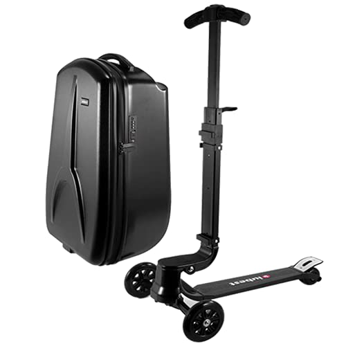 Scooter Suitcase, 20'' Scooter Luggage, Foldable Luggage, Steerable Carry on Scooter Bag, Separable Luggage, for Adult, Child, Scootcase for Airport Travel Business School, 50 liter