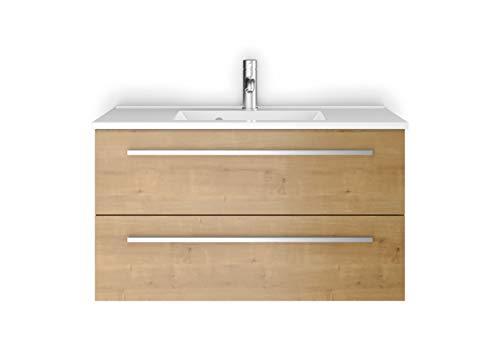 Sieper Waschtischunterschrank Libato - Unterschrank Verschiedene Größen - weiß oder anthrazit Hochglanz - Badmöbel Badezimmermöbel Waschtisch Unterschrank Badmöbel (90, Eiche Gold)