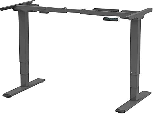 SANODESK EQ Höhenverstellbarer Schreibtisch Elektrisch höhenverstellbares Tischgestell 2 Motoren Plus 3-Fach-Teleskop, mit Memory-Steuerung (Grau)