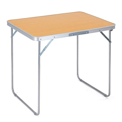trail outdoor leisure Portable Folding Camping Table, Beech Effect Finish, Sturdy Steel Legs, Aluminium Frame, Carry Handle, Camping, Caravan, Picnic, Barbecue