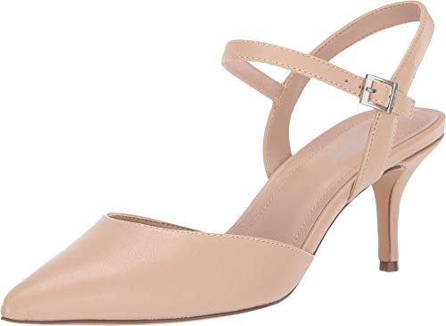 Charles David Ailey Ankle Buckle Classic Pump Nude Leather Pointed Pumps (7.5, Nude)