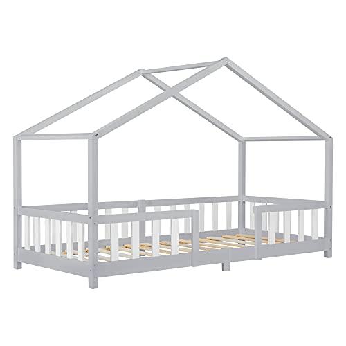 Cama para Niños de Madera Pino 207 x 97 x 138 cm Cama Infantil con Reja Protectora Casita Forma de casa Gris Oscuro Blanco Mate Lacado