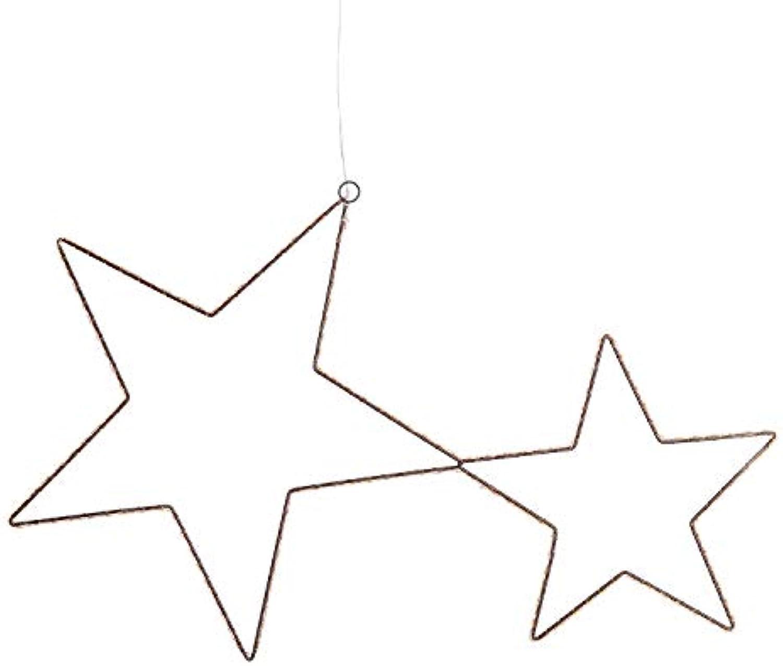 LuminalPark Leuchtfigur Sternenpaar 76xh 45cm 250 Mikroled Warmwei auf Kupferkabel Festlicht 4.5V Auen