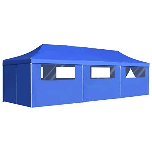 vidaXL Carpa Plegable Pop-up con 8 Paredes 3x9m Azul Toldo Cenador Marquesina