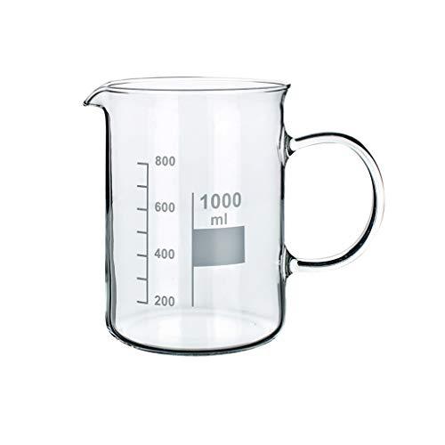 LBWT Glasbecher mit Griff, Küche Becher mit Skala, hohe Temperaturbeständigkeit, chemisches Experiment Ausrüstung
