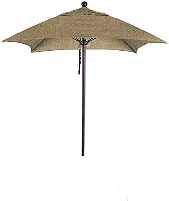 California Umbrella ALTO604117-8318 Aluminum Push Open, Sunbrella Linen Sesame Umbrella, 6' Square