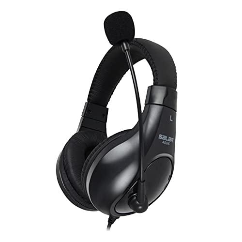 Blesiya Auriculares de oído con micrófono, Auriculares Bajos estéreo Plegables Ligeros con Cable de 2,0 m, portátiles con Cable para Smartphone Tablet - Negro